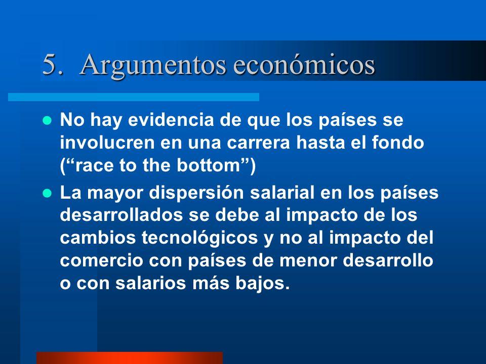 5. Argumentos económicos No hay evidencia de que los países se involucren en una carrera hasta el fondo (race to the bottom) La mayor dispersión salar
