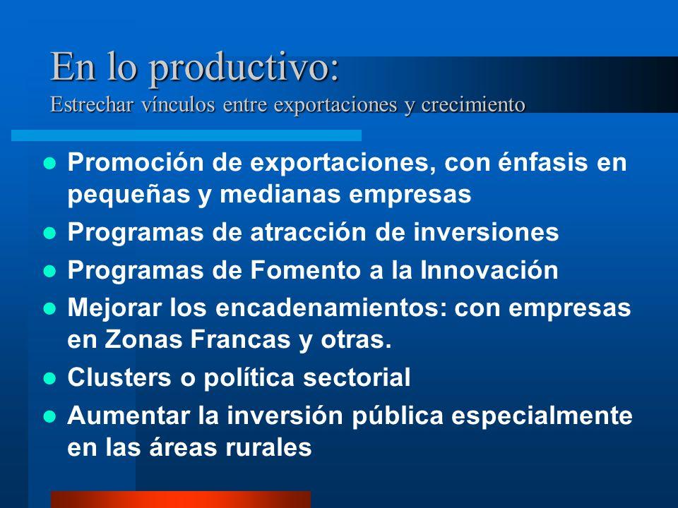 En lo productivo: Estrechar vínculos entre exportaciones y crecimiento Promoción de exportaciones, con énfasis en pequeñas y medianas empresas Program