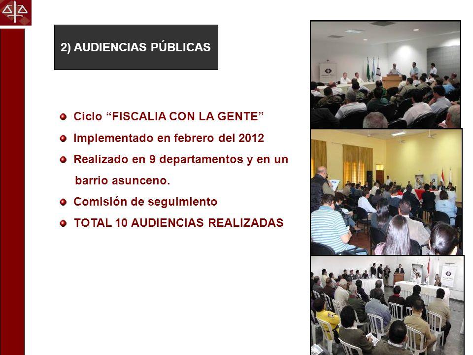 2) AUDIENCIAS PÚBLICAS Ciclo FISCALIA CON LA GENTE Implementado en febrero del 2012 Realizado en 9 departamentos y en un barrio asunceno. Comisión de