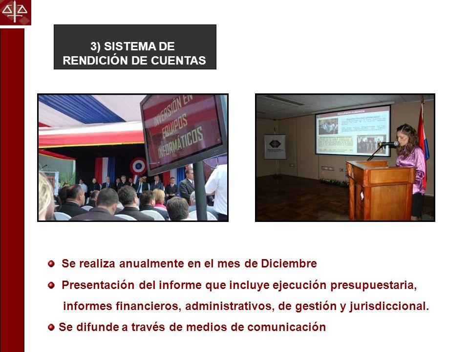 3) SISTEMA DE RENDICIÓN DE CUENTAS Se realiza anualmente en el mes de Diciembre Presentación del informe que incluye ejecución presupuestaria, informe