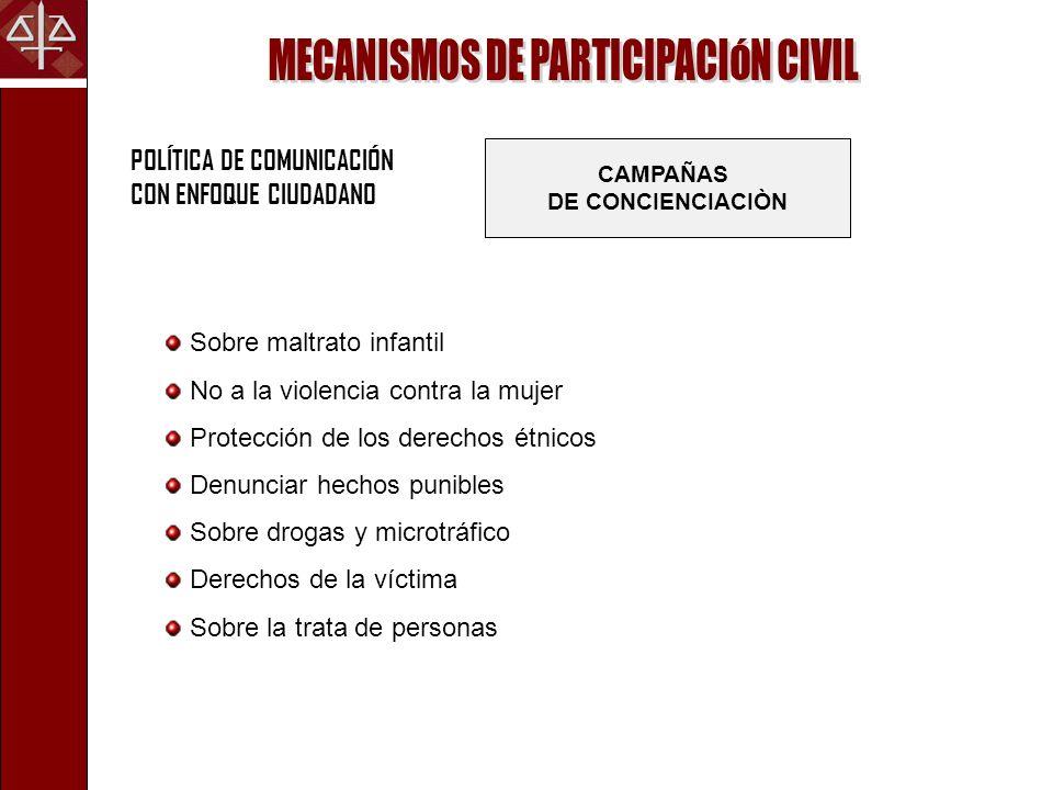 POLÍTICA DE COMUNICACIÓN CON ENFOQUE CIUDADANO CAMPAÑAS DE CONCIENCIACIÒN Sobre maltrato infantil No a la violencia contra la mujer Protección de los