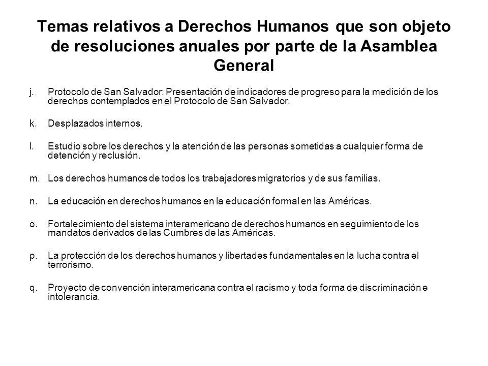 Temas relativos a Derechos Humanos que son objeto de resoluciones anuales por parte de la Asamblea General j.Protocolo de San Salvador: Presentación d