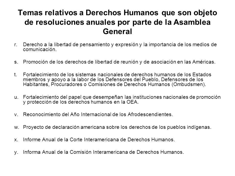 Temas relativos a Derechos Humanos que son objeto de resoluciones anuales por parte de la Asamblea General r.Derecho a la libertad de pensamiento y ex