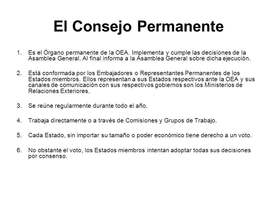 El Consejo Permanente 1.Es el Órgano permanente de la OEA. Implementa y cumple las decisiones de la Asamblea General. Al final informa a la Asamblea G