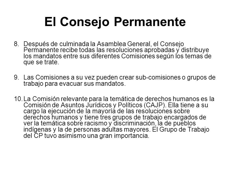 El Consejo Permanente 8.Después de culminada la Asamblea General, el Consejo Permanente recibe todas las resoluciones aprobadas y distribuye los manda