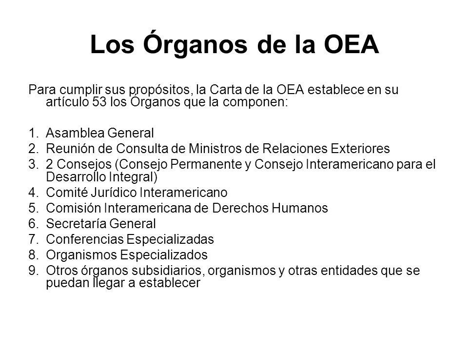 Los Órganos de la OEA Para cumplir sus propósitos, la Carta de la OEA establece en su artículo 53 los Órganos que la componen: 1.Asamblea General 2.Re