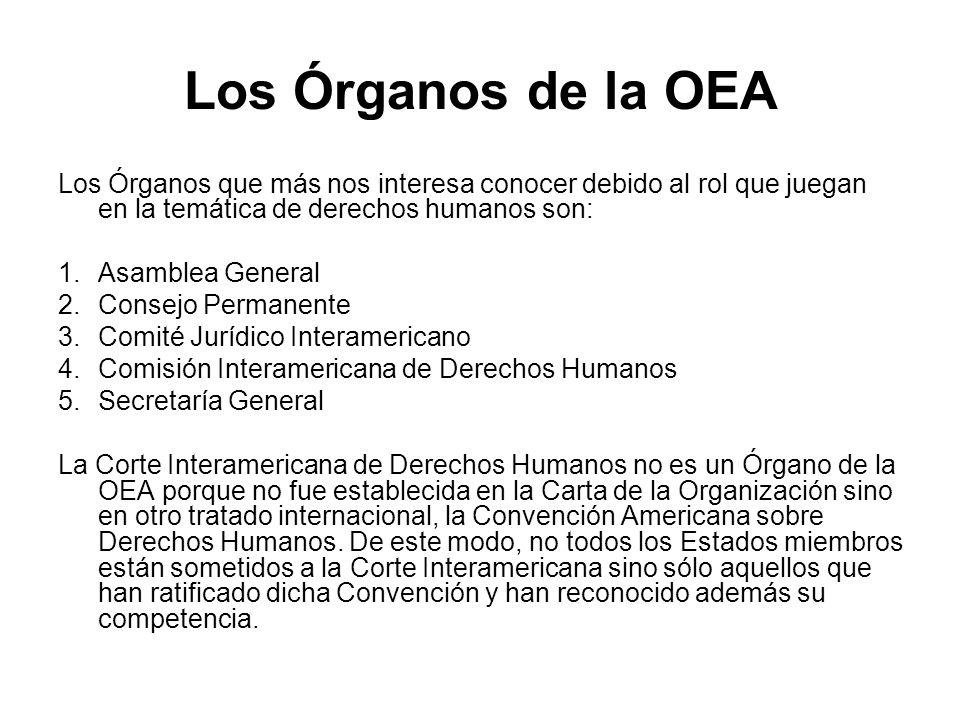 Los Órganos de la OEA Los Órganos que más nos interesa conocer debido al rol que juegan en la temática de derechos humanos son: 1.Asamblea General 2.C