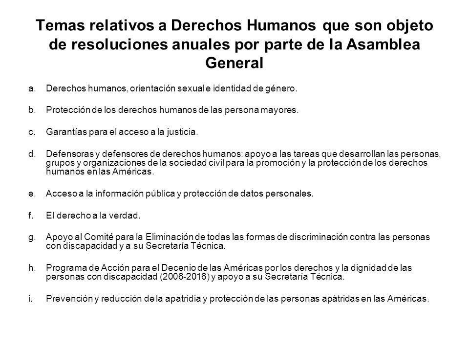 Temas relativos a Derechos Humanos que son objeto de resoluciones anuales por parte de la Asamblea General j.Protocolo de San Salvador: Presentación de indicadores de progreso para la medición de los derechos contemplados en el Protocolo de San Salvador.