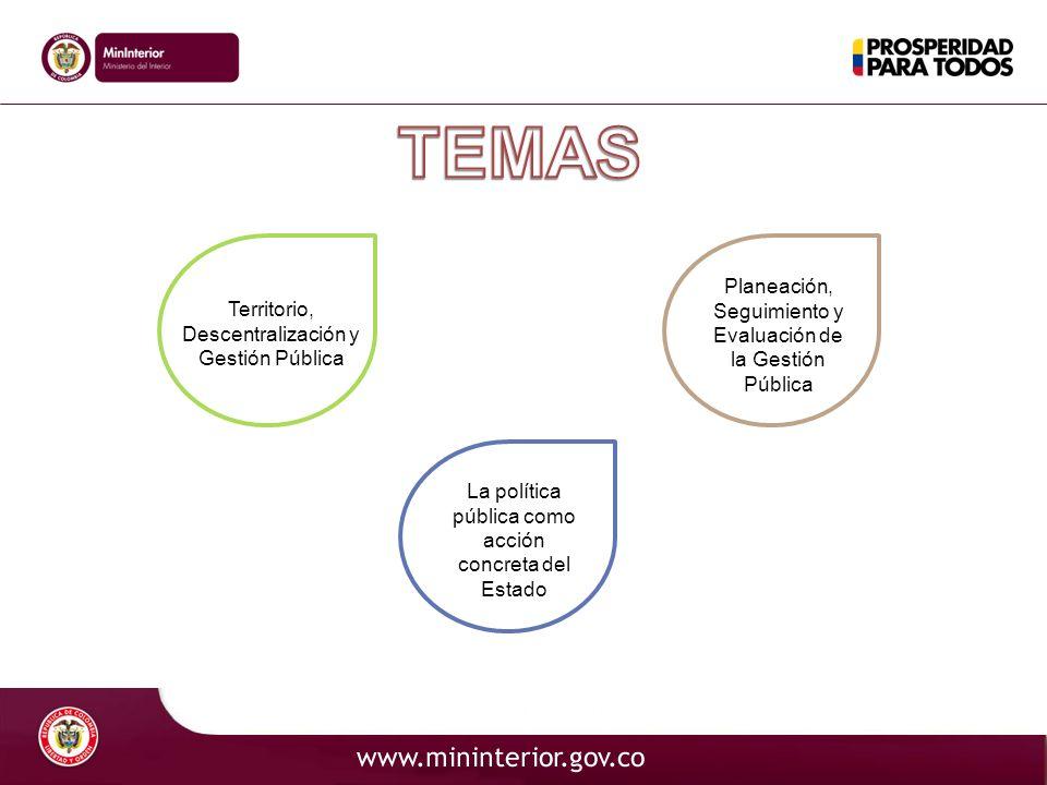 Territorio, Descentralización y Gestión Pública La política pública como acción concreta del Estado Planeación, Seguimiento y Evaluación de la Gestión