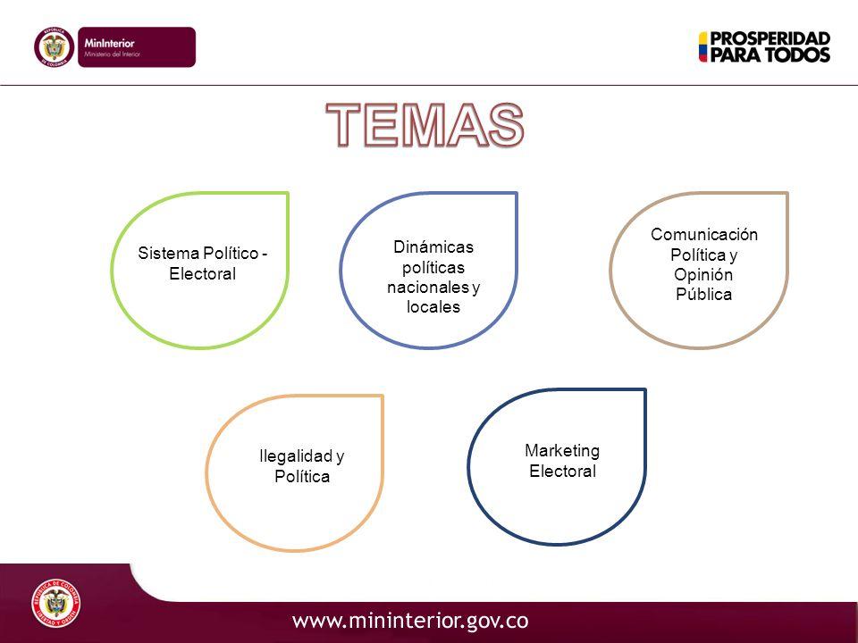 Sistema Político - Electoral Ilegalidad y Política Dinámicas políticas nacionales y locales Marketing Electoral Comunicación Política y Opinión Públic