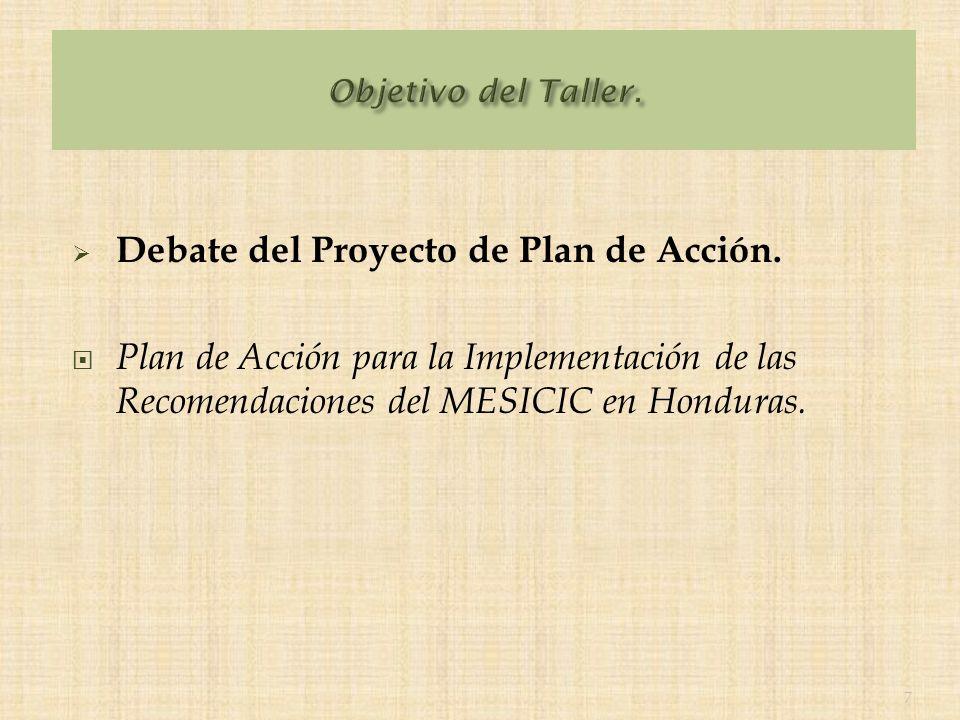 Debate del Proyecto de Plan de Acción.