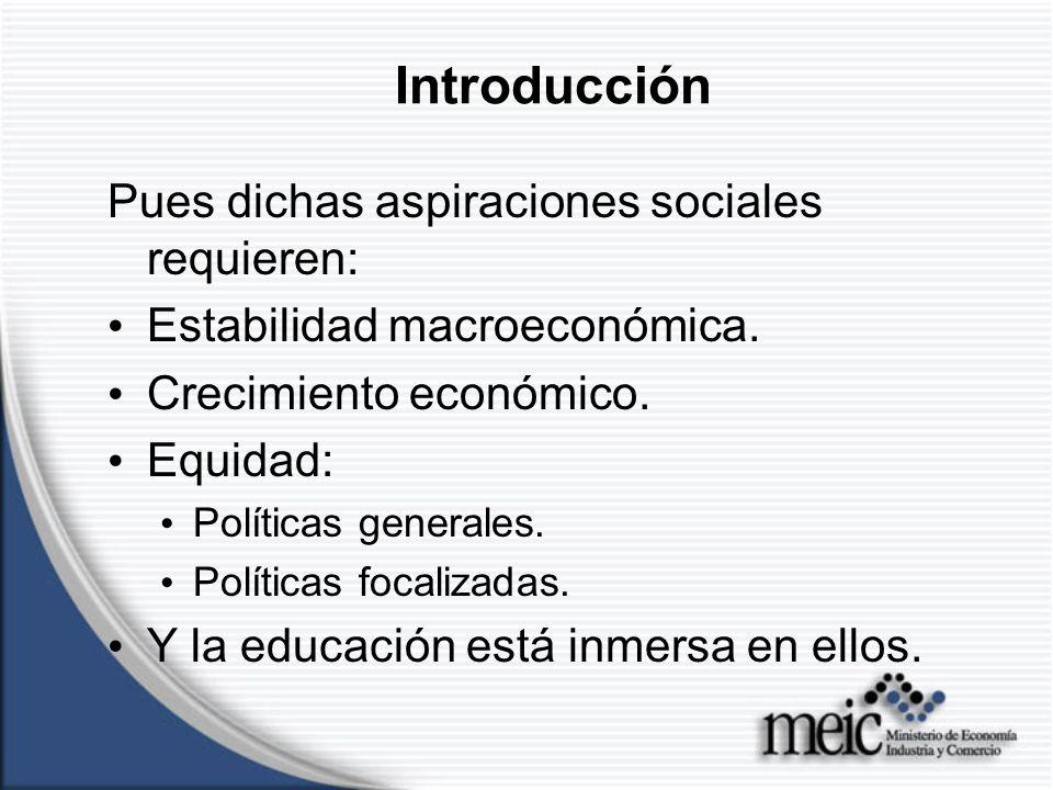 Introducción Pues dichas aspiraciones sociales requieren: Estabilidad macroeconómica.