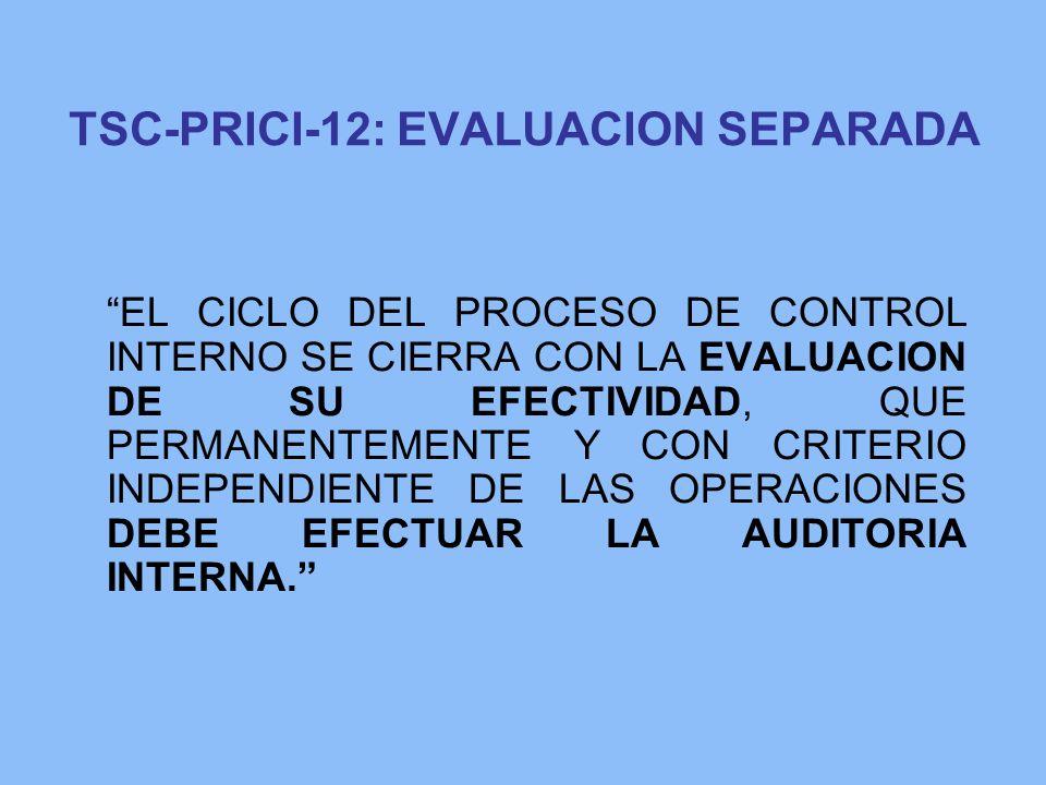 TSC-PRICI-12: EVALUACION SEPARADA EL CICLO DEL PROCESO DE CONTROL INTERNO SE CIERRA CON LA EVALUACION DE SU EFECTIVIDAD, QUE PERMANENTEMENTE Y CON CRI