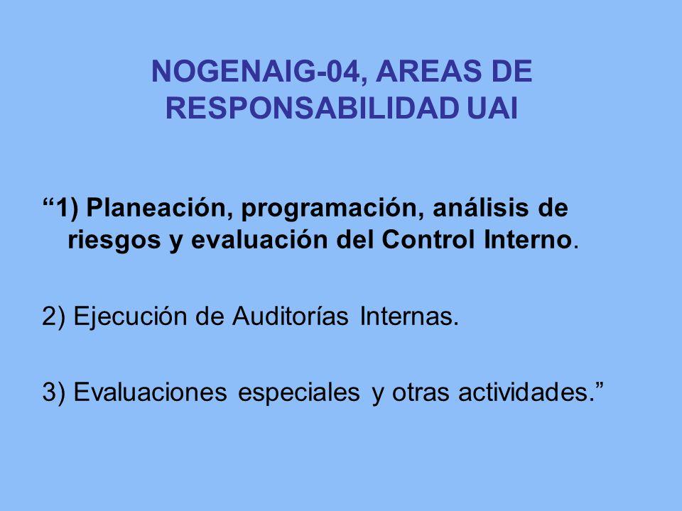 NOGENAIG-04, AREAS DE RESPONSABILIDAD UAI 1) Planeación, programación, análisis de riesgos y evaluación del Control Interno. 2) Ejecución de Auditoría