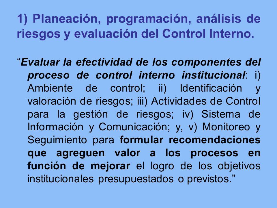 1) Planeación, programación, análisis de riesgos y evaluación del Control Interno. Evaluar la efectividad de los componentes del proceso de control in