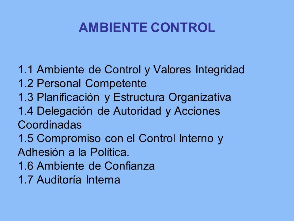 AMBIENTE CONTROL 1.1 Ambiente de Control y Valores Integridad 1.2 Personal Competente 1.3 Planificación y Estructura Organizativa 1.4 Delegación de Au