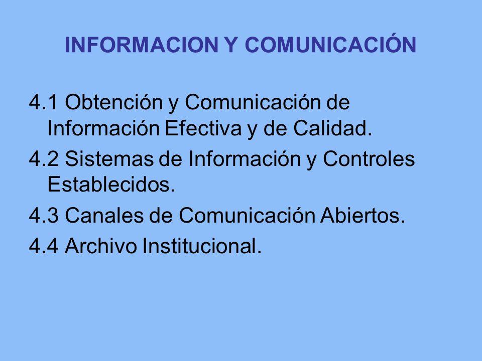 INFORMACION Y COMUNICACIÓN 4.1 Obtención y Comunicación de Información Efectiva y de Calidad. 4.2 Sistemas de Información y Controles Establecidos. 4.