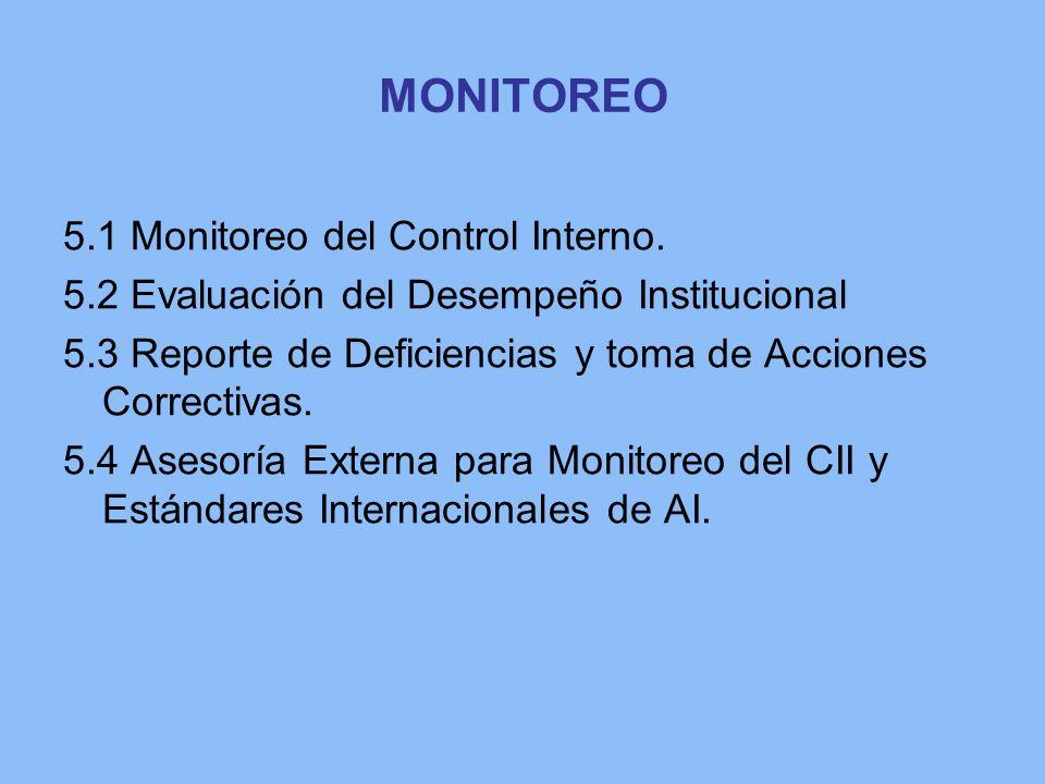 MONITOREO 5.1 Monitoreo del Control Interno. 5.2 Evaluación del Desempeño Institucional 5.3 Reporte de Deficiencias y toma de Acciones Correctivas. 5.