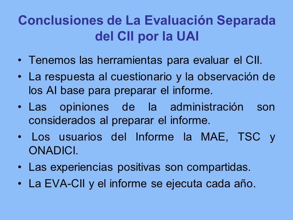 Conclusiones de La Evaluación Separada del CII por la UAI Tenemos las herramientas para evaluar el CII. La respuesta al cuestionario y la observación