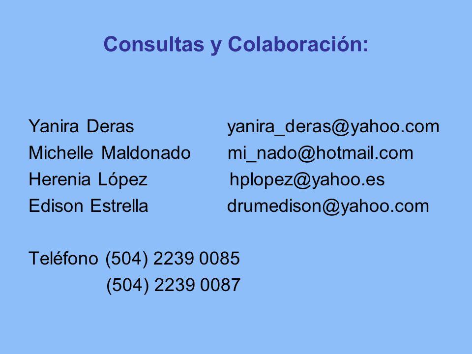 Consultas y Colaboración: Yanira Deras yanira_deras@yahoo.com Michelle Maldonado mi_nado@hotmail.com Herenia López hplopez@yahoo.es Edison Estrella dr