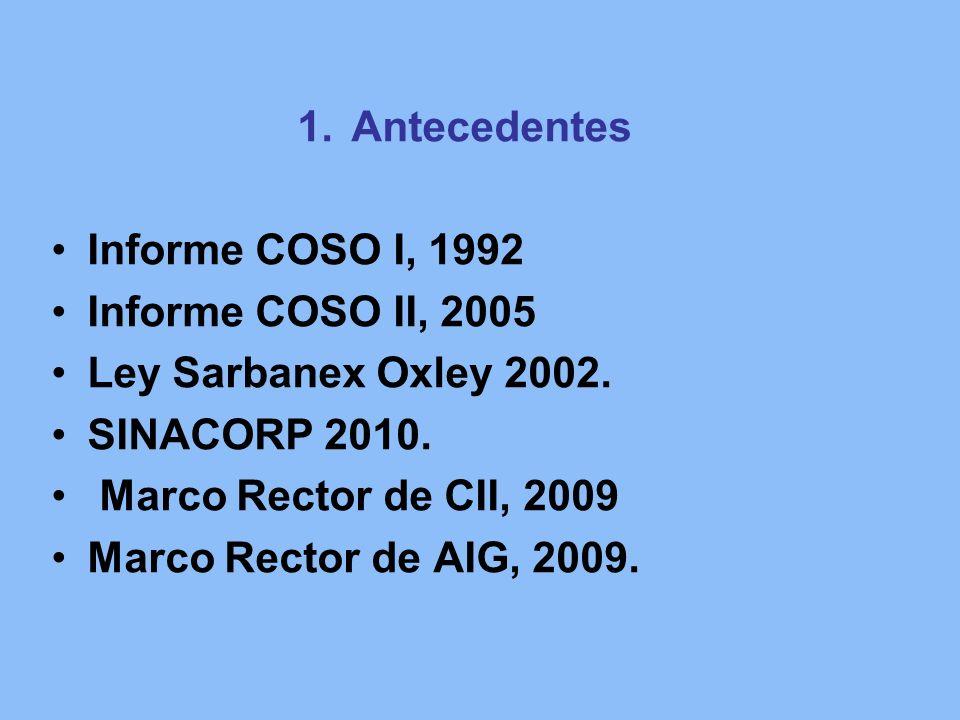 1.Antecedentes Informe COSO I, 1992 Informe COSO II, 2005 Ley Sarbanex Oxley 2002. SINACORP 2010. Marco Rector de CII, 2009 Marco Rector de AIG, 2009.