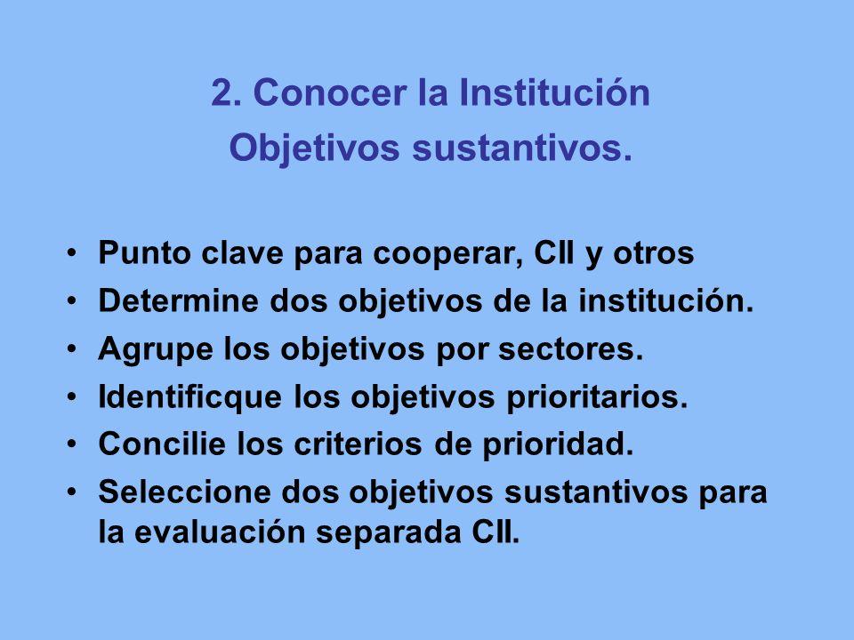 2. Conocer la Institución Objetivos sustantivos. Punto clave para cooperar, CII y otros Determine dos objetivos de la institución. Agrupe los objetivo