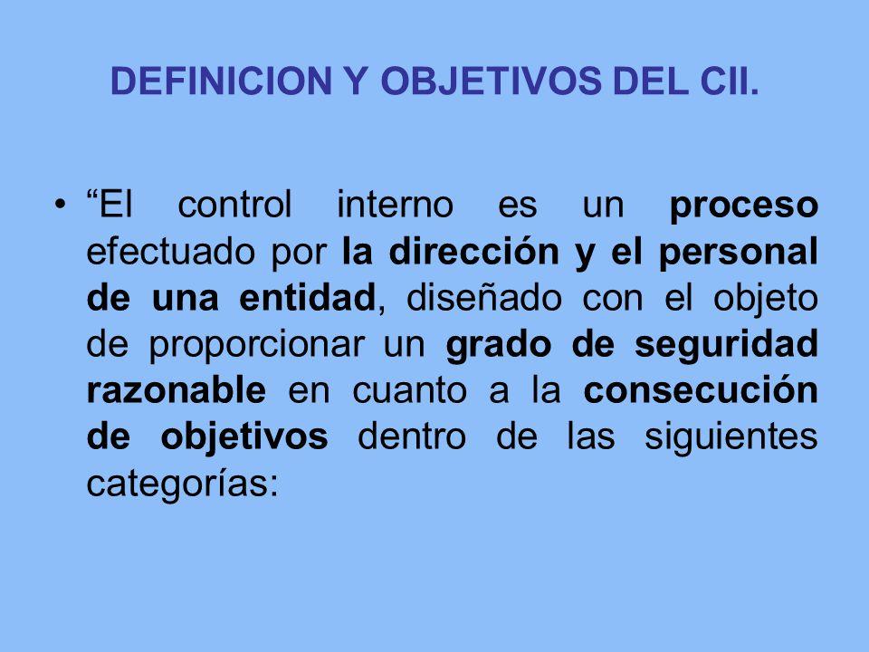 DEFINICION Y OBJETIVOS DEL CII. El control interno es un proceso efectuado por la dirección y el personal de una entidad, diseñado con el objeto de pr