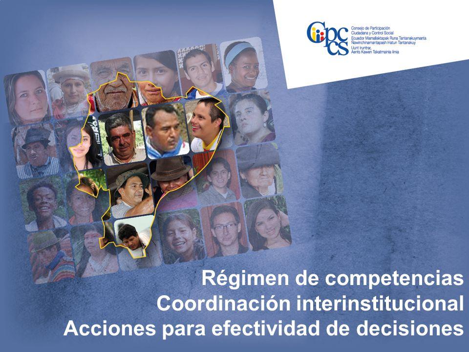 Régimen de competencias Coordinación interinstitucional Acciones para efectividad de decisiones