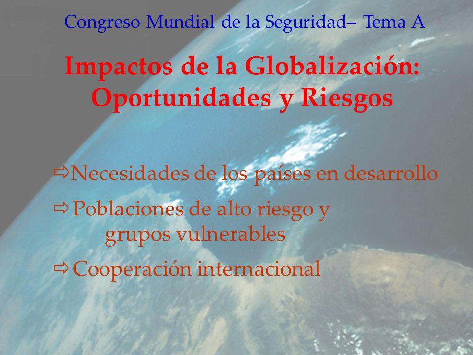 Congreso Mundial de la Seguridad– Tema A Impactos de la Globalización: Oportunidades y Riesgos Necesidades de los países en desarrollo Poblaciones de alto riesgo y grupos vulnerables Cooperación internacional