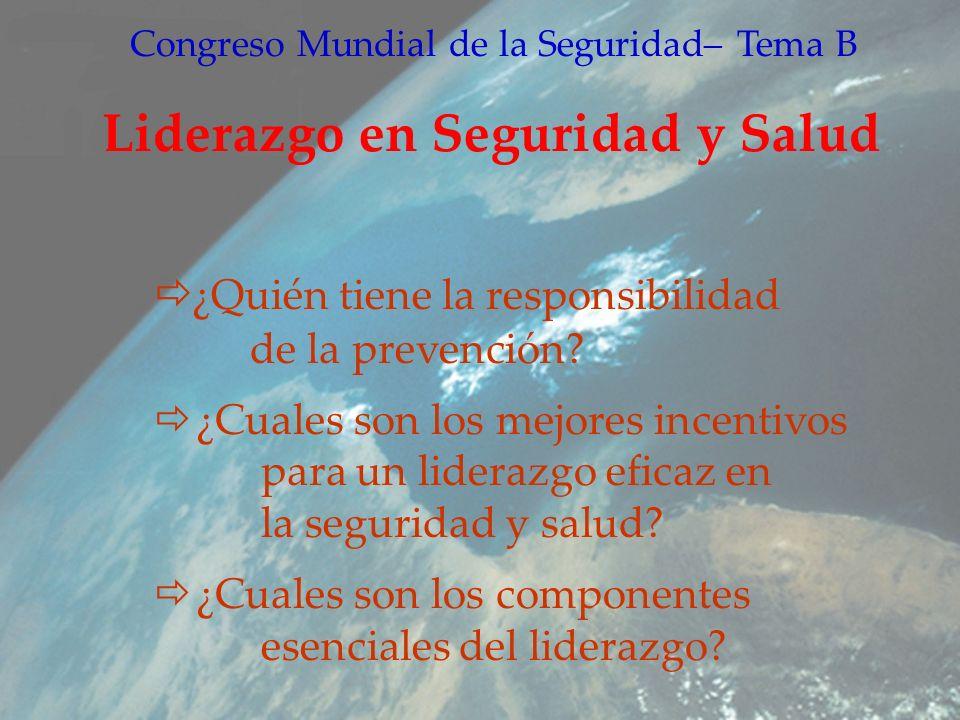 Congreso Mundial de la Seguridad– Tema B Liderazgo en Seguridad y Salud ¿Quién tiene la responsibilidad de la prevención.