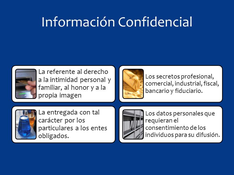 Información Confidencial La referente al derecho a la intimidad personal y familiar, al honor y a la propia imagen La entregada con tal carácter por los particulares a los entes obligados.