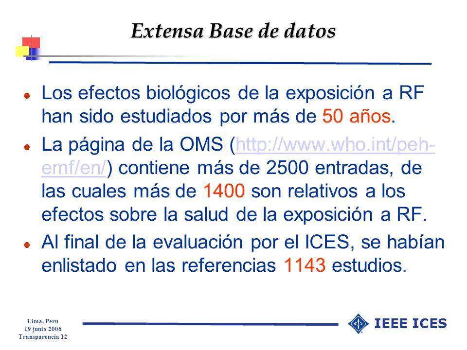 Lima, Peru 19 junio 2006 Transparencia 12 IEEE ICES Extensa Base de datos l Los efectos biológicos de la exposición a RF han sido estudiados por más d