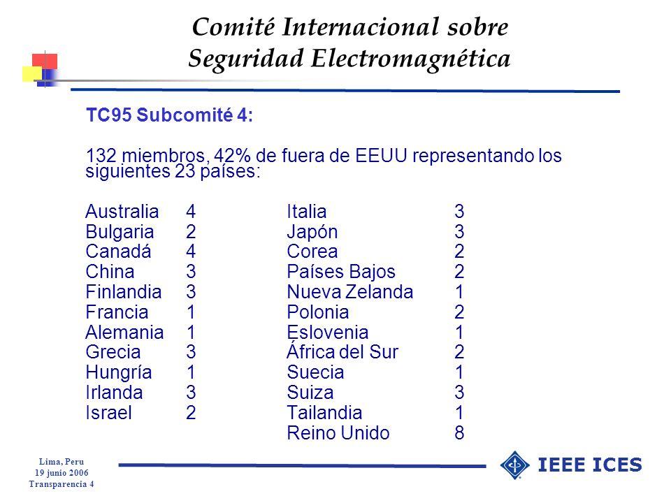 Lima, Peru 19 junio 2006 Transparencia 5 IEEE ICES Comité Internacional sobre Seguridad Electromagnética SC4 Composición de la membresía Academia3627% Gobierno4534% Industria2217% Consultores2720% Público en General 22% Total132100%