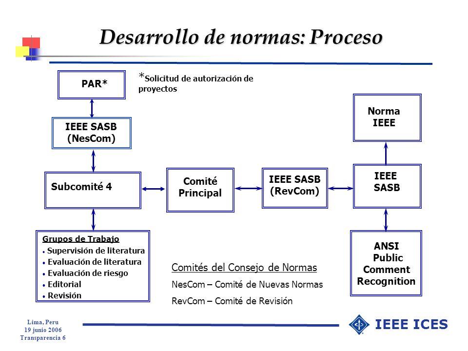 Lima, Peru 19 junio 2006 Transparencia 27 IEEE ICES 4.7 Cómo evaluar el cumplimiento de las normas l En la práctica, la evaluación del cumplimiento de las normas, consiste en determinar si los campos eléctricos y magnéticos, las densidades de potencia, las corrientes de contacto e inducidas y las tensiones de contacto, exceden algunas de correspondientes exposiciones máximas permisibles.