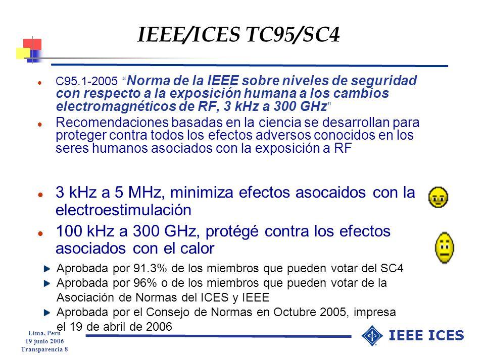 Lima, Peru 19 junio 2006 Transparencia 29 IEEE ICES Comparación entre las restricciones básicas de SAR y CIPRNI l Proteger contra los efectos establecidos como adversos para la salud l SAR se aplica en el rango de 100 kHz – 3 GHz l Promediado por 10 g de tejido en un cubo l Promediado por hasta 30 min para el público general y hasta 6 min para un medio controlado l Los límites para los oídos son los mismos que para las extremidades l Parte superior de brazos y piernas tienen los mismos límites que el cuerpo l protección contra efectos ya conocidos como adversos para la salud l SAR se aplica en el rango de 100 kHz -10 GHz l Promediado por 10 g de tejido contiguo l Promediado por 6 min l El límite para los oídos es el mismo que para el cuerpo l La parte superior de los brazos y los muslos superiores son parte de las extremidades y tienen límites diferentes a los del cuerpo.