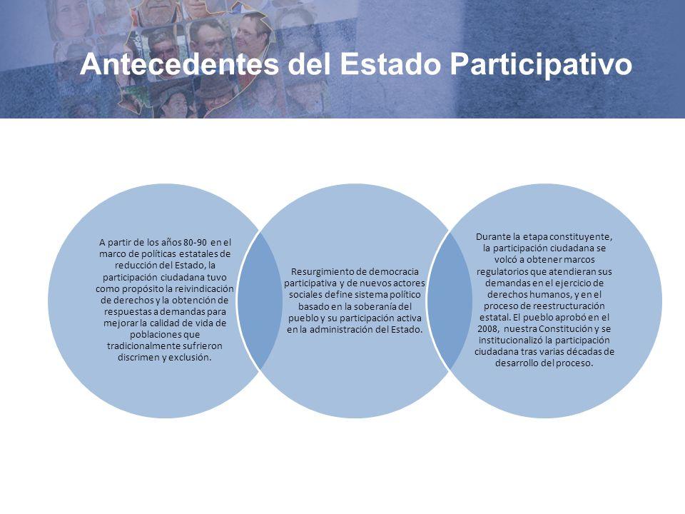 Antecedentes del Estado Participativo A partir de los años 80-90 en el marco de políticas estatales de reducción del Estado, la participación ciudadan
