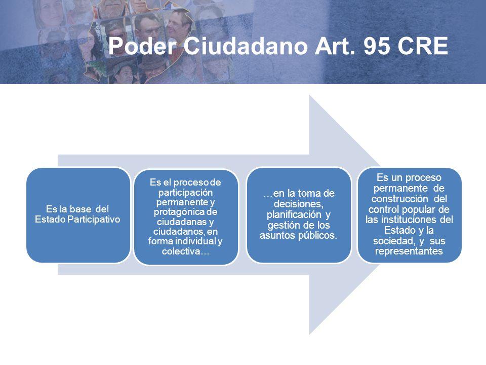 Poder Ciudadano Art. 95 CRE Es la base del Estado Participativo Es el proceso de participación permanente y protagónica de ciudadanas y ciudadanos, en