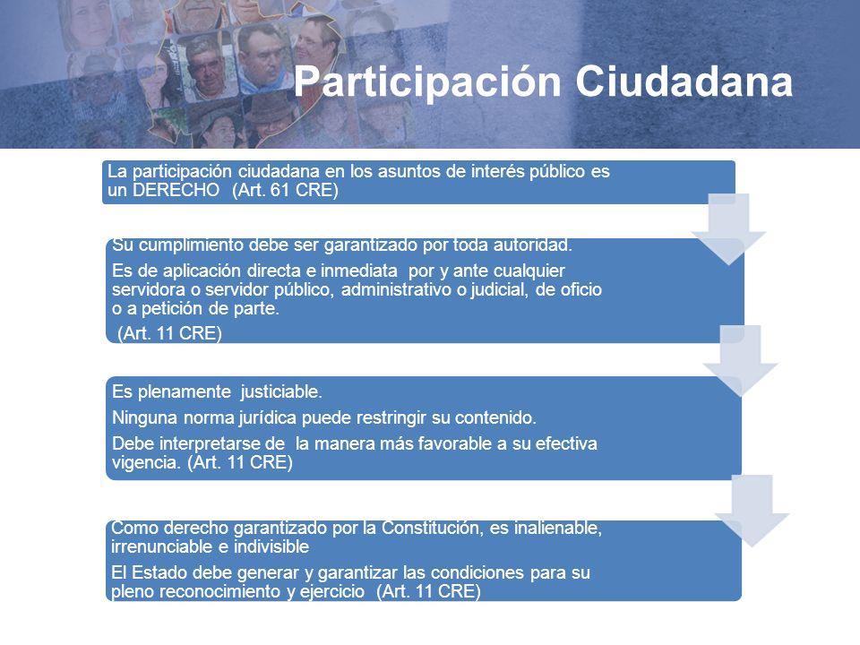 Participación Ciudadana La participación ciudadana en los asuntos de interés público es un DERECHO (Art. 61 CRE) Su cumplimiento debe ser garantizado