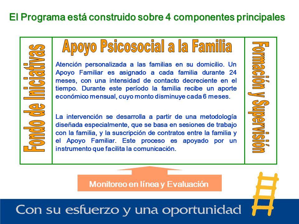 El Programa está construido sobre 4 componentes principales Monitoreo en línea y Evaluación Atención personalizada a las familias en su domicilio.