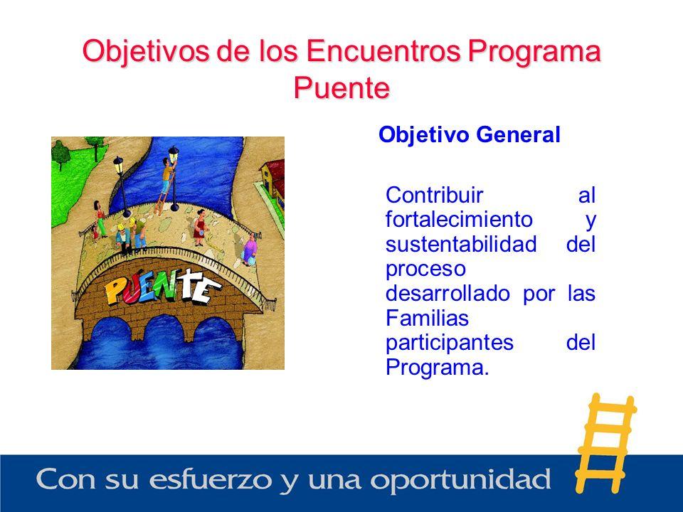 Objetivos de los Encuentros Programa Puente Objetivo General Contribuir al fortalecimiento y sustentabilidad del proceso desarrollado por las Familias
