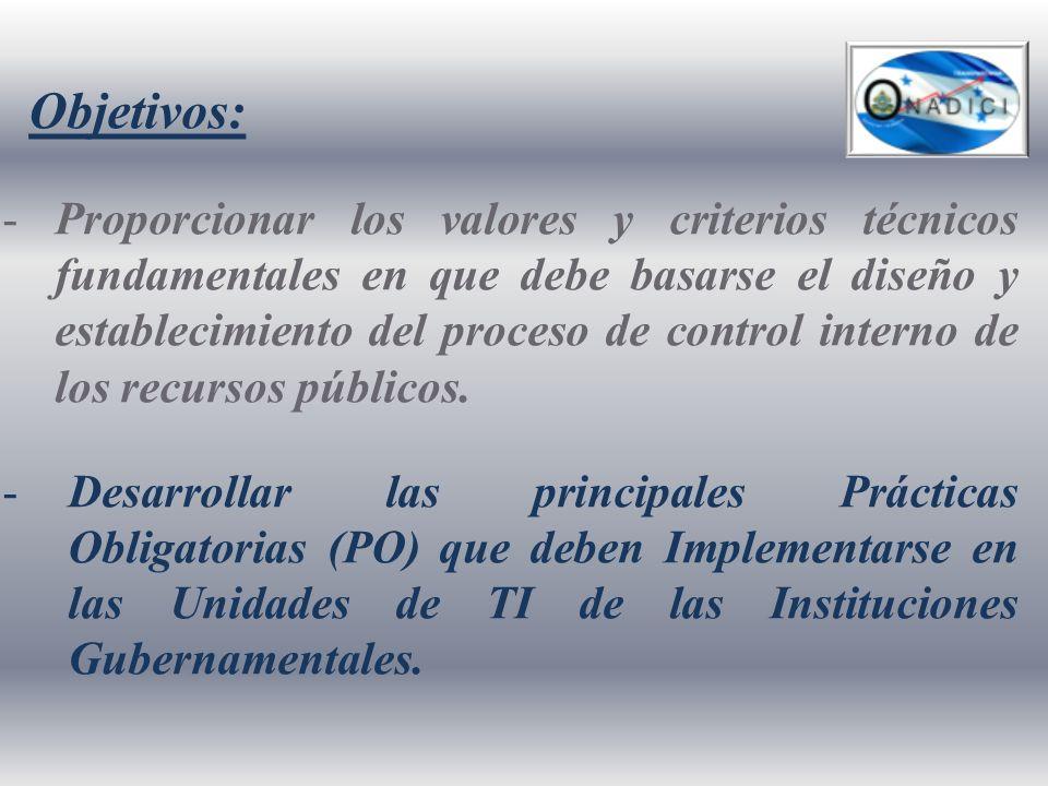 Objetivos: -Proporcionar los valores y criterios técnicos fundamentales en que debe basarse el diseño y establecimiento del proceso de control interno