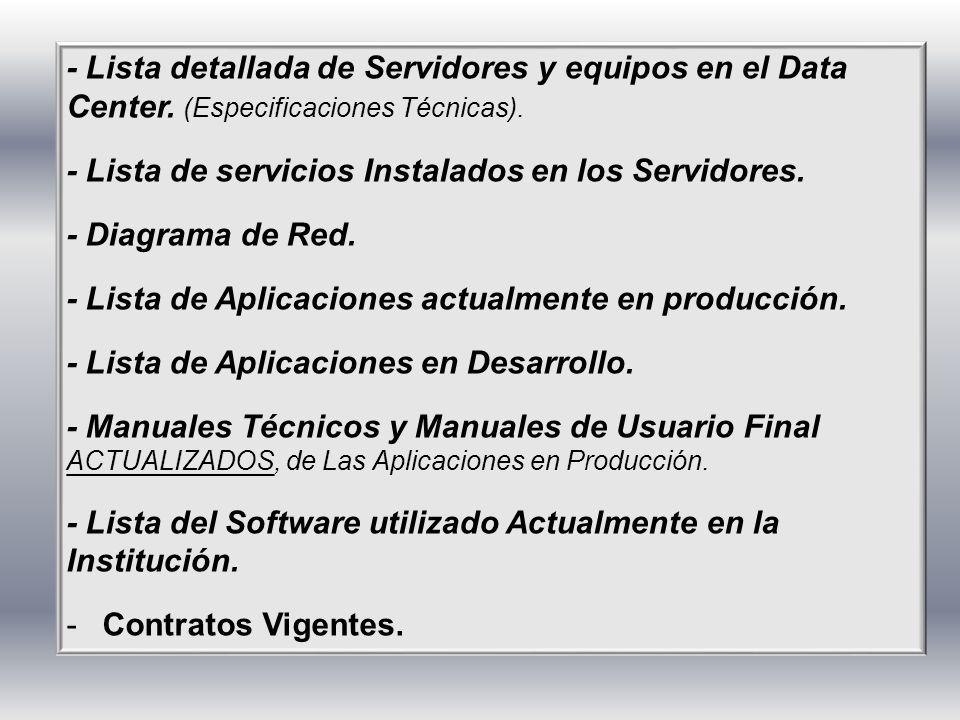 - Lista detallada de Servidores y equipos en el Data Center. (Especificaciones Técnicas). - Lista de servicios Instalados en los Servidores. - Diagram