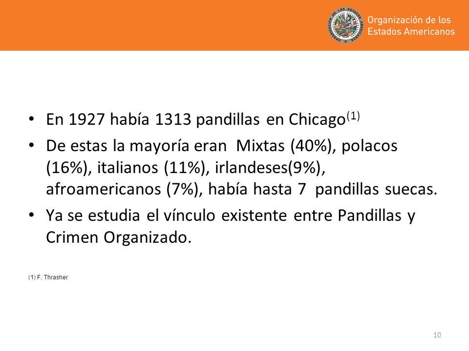 10 En 1927 había 1313 pandillas en Chicago (1) De estas la mayoría eran Mixtas (40%), polacos (16%), italianos (11%), irlandeses(9%), afroamericanos (