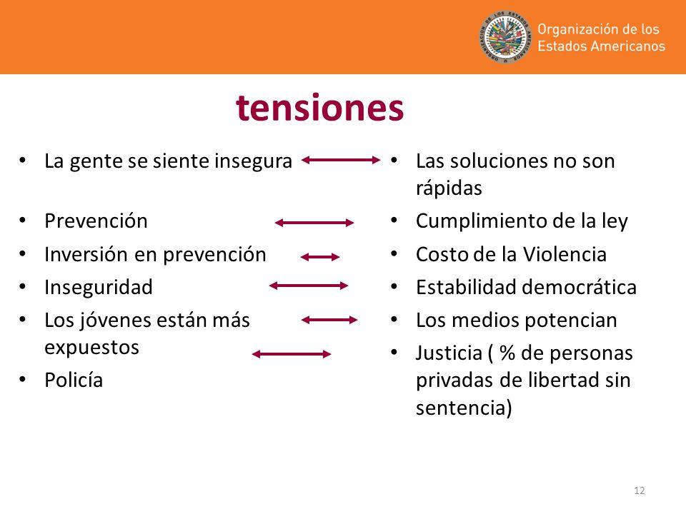 12 tensiones La gente se siente insegura Prevención Inversión en prevención Inseguridad Los jóvenes están más expuestos Policía Las soluciones no son