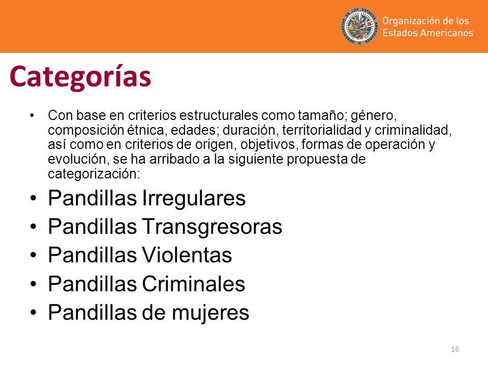 16 Categorías Con base en criterios estructurales como tamaño; género, composición étnica, edades; duración, territorialidad y criminalidad, así como