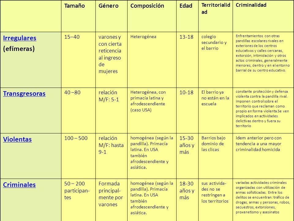 17 TamañoGéneroComposiciónEdad Territorialid ad Criminalidad Irregulares (efímeras) 15–40varones y con cierta reticencia al ingreso de mujeres Heterog