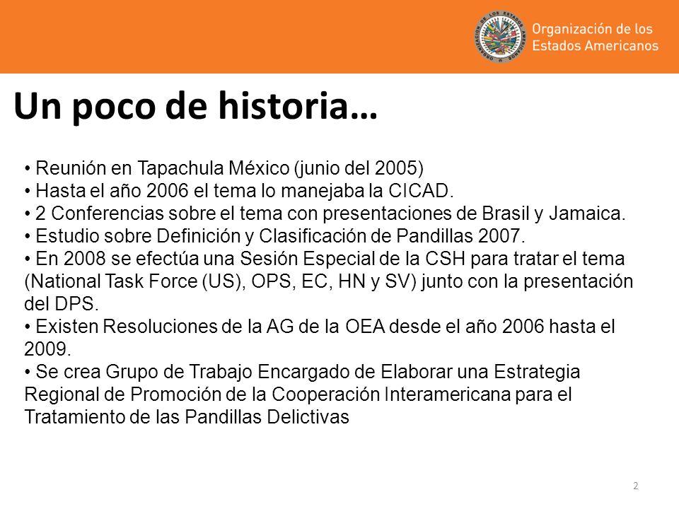 2 Un poco de historia… Reunión en Tapachula México (junio del 2005) Hasta el año 2006 el tema lo manejaba la CICAD. 2 Conferencias sobre el tema con p