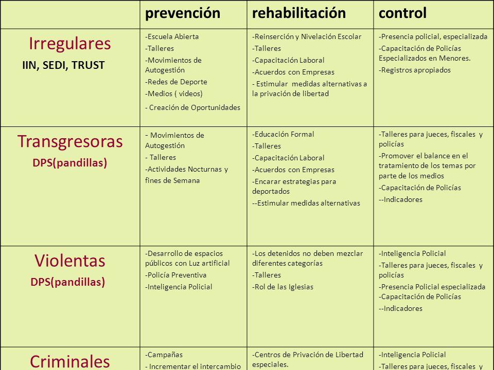 21 prevenciónrehabilitacióncontrol Irregulares IIN, SEDI, TRUST -Escuela Abierta -Talleres -Movimientos de Autogestión -Redes de Deporte -Medios ( vid