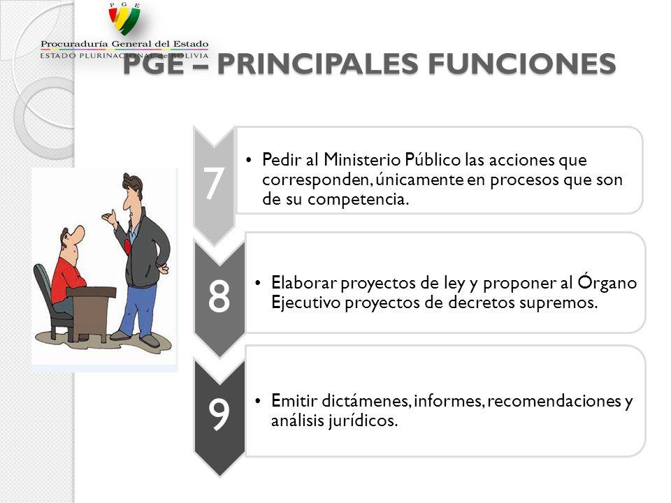PGE – PRINCIPALES FUNCIONES 7 Pedir al Ministerio Público las acciones que corresponden, únicamente en procesos que son de su competencia. 8 Elaborar