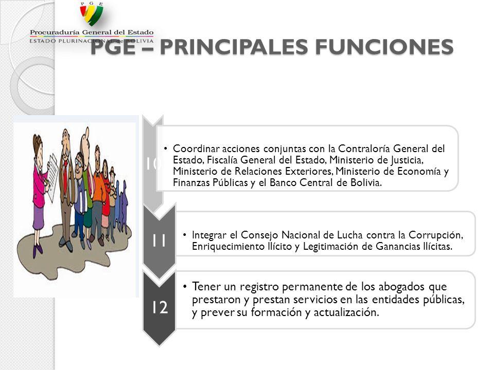 PGE – PRINCIPALES FUNCIONES 10 Coordinar acciones conjuntas con la Contraloría General del Estado, Fiscalía General del Estado, Ministerio de Justicia